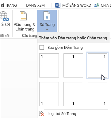 Bộ sưu tập Số Trang trong Word Online