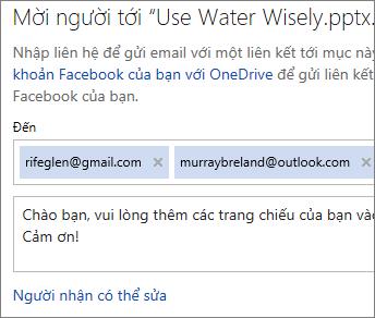 Nhập địa chỉ email và thư để gửi email một nối kết