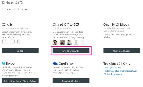 """Ảnh chụp màn hình của trang Tài khoản của Tôi với nút """"Chia sẻ Office 365"""" được chọn."""