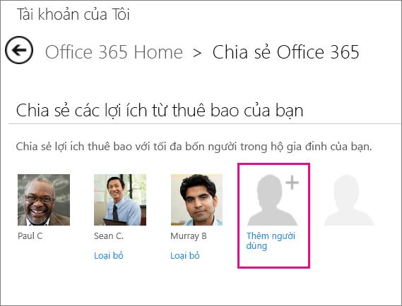 """Ảnh chụp màn hình của trang Chia sẻ Office 365 với tùy chọn """"Thêm người dùng"""" người dùng được chọn."""