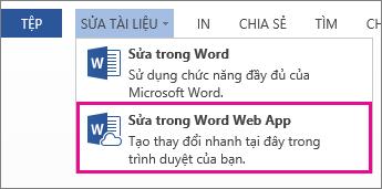 Hình ảnh lệnh Sửa trong Word Web App