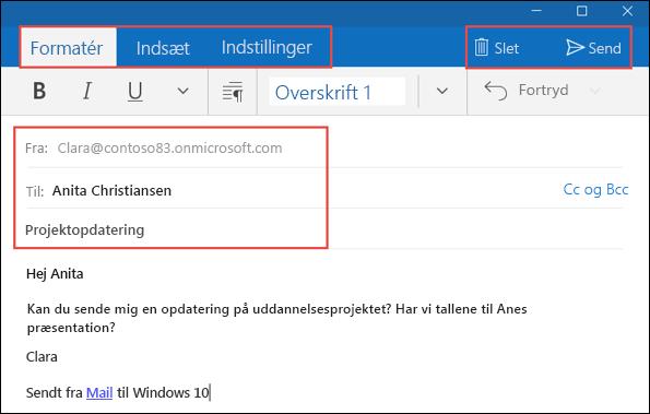 Skrive, formatere og sende meddelelser i Mail til Windows 10 - Outlook
