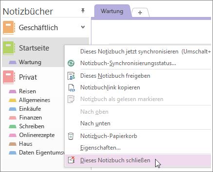 l schen eines notizbuchs in onenote 2013 onenote