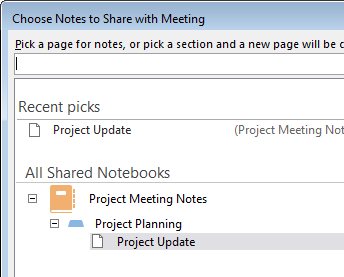 Choose notes to share