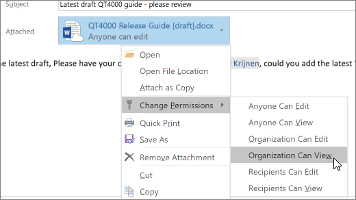 Screenshot of Outlook message compose screen, with Change Permissions selected on attached file.