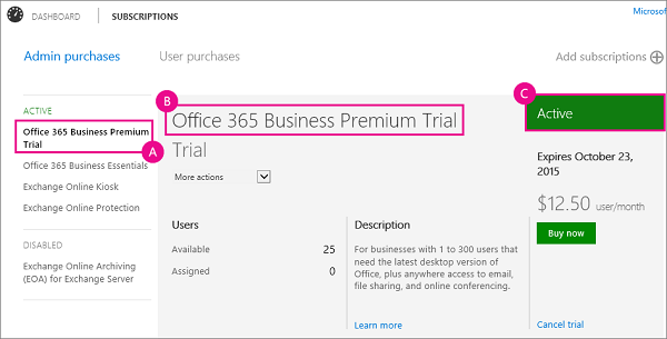 What office 365 for business subscription do i have office 365 - Company administrator office 365 ...