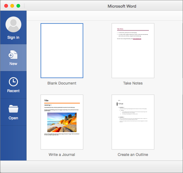 Create A New Document By Using A Template In Word 2016 For