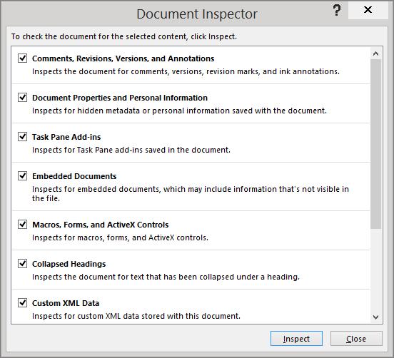 'The options in the Document Inspector dialog box are shown' from the web at 'https://osiprodwusodcspstoa01.blob.core.windows.net/en-us/media/214e9da8-62cc-4bbe-9c81-e237f4b9cef3.png'