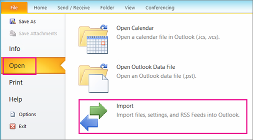 How To Import Contacts From a  csv File or  pst File To Outlook 2010