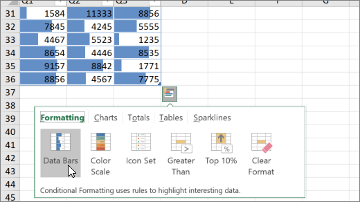 Worksheet showing data bars created from the Quick Analysis menu
