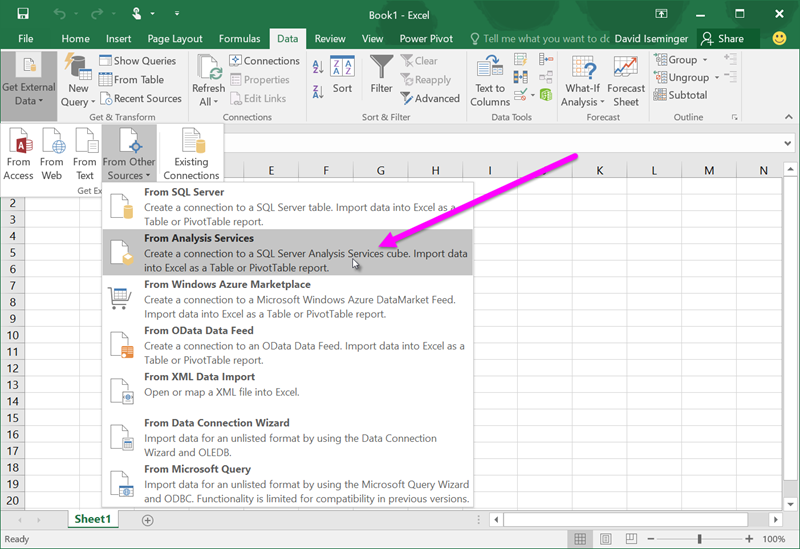 Power View and OLAP in Excel 2016 - Excel