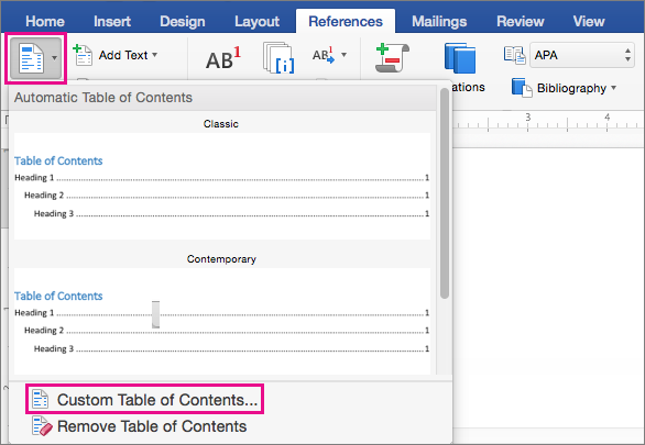 how to create table of contents in word 2010 mac