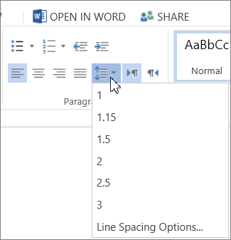 how to change the line spacing in word 2016
