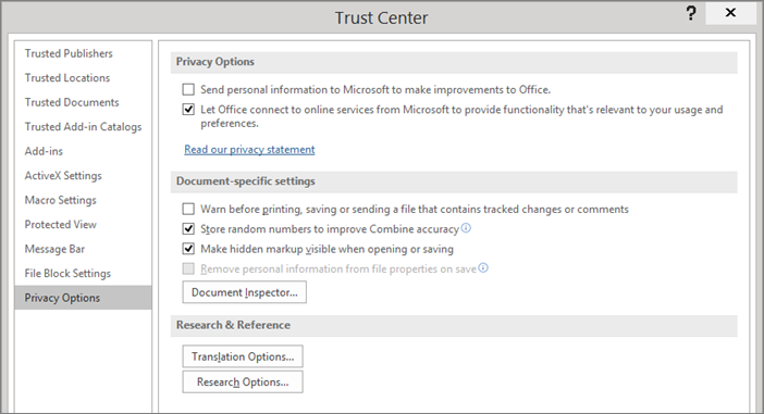 'The privacy options are shown in the Office Trust Center' from the web at 'https://osiprodwusodcspstoa01.blob.core.windows.net/en-us/media/666cf3d1-a032-4952-a384-2610736563dd.png'