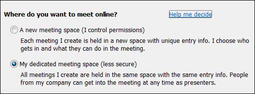 Screen shot of meeting options where do you want to meet