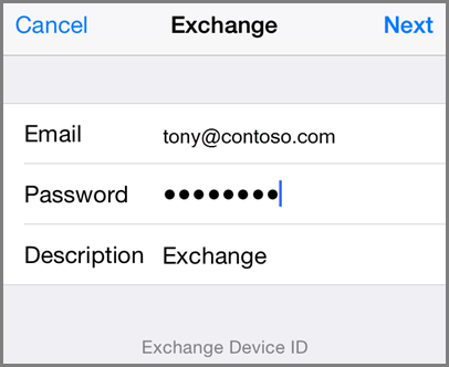 Add your email address and password
