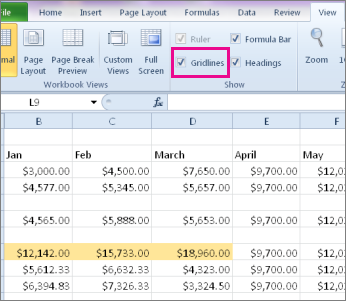 how to show the lines in excel