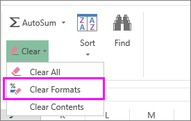 how to clear the formatting in excel cell