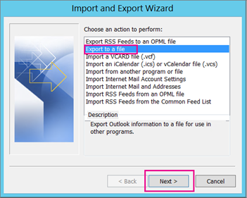 Export or backup email, contacts, and calendar to an Outlook .pst file - Office Support