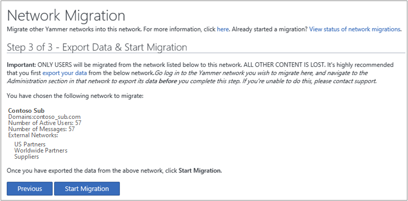 network migration plan template - screen shot of step 3 of 3 export data start migration