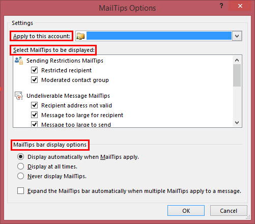Outlook MailTip Options