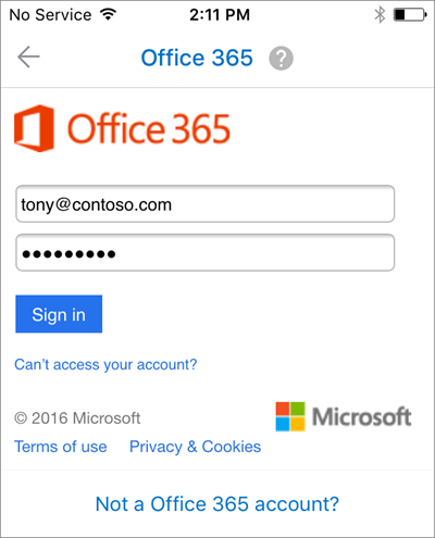 Sign in with your work or school email and password