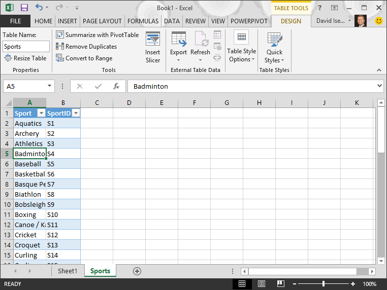 Tutorial import data into excel and create a data model for Table design ribbon in excel