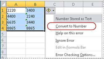 how to convert open office formulas to numbers