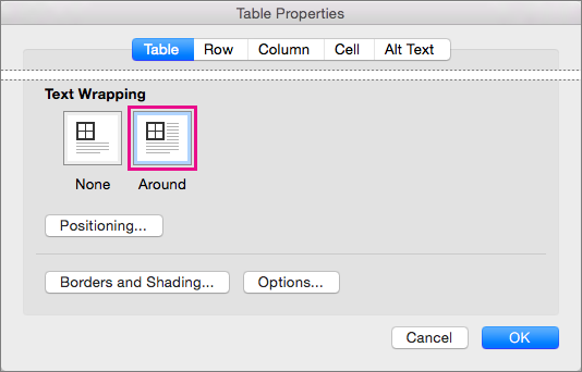 Control text wrapping around objects in word 2016 for mac for Table th word wrap