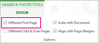 how to make header on first page different