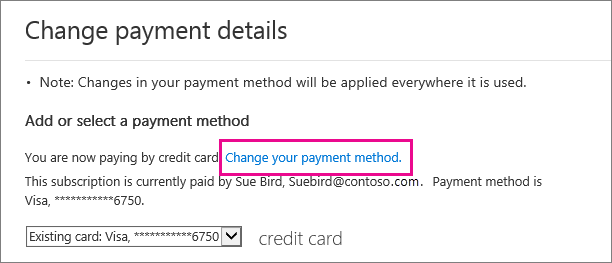 help articles changing your payment method