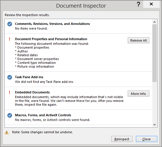 'The Document Inspector dialog box is shown with the option to Remove All' from the web at 'https://osiprodwusodcspstoa01.blob.core.windows.net/en-us/media/f7afe390-e1ce-4cd7-8e1e-ef249846e398.png'