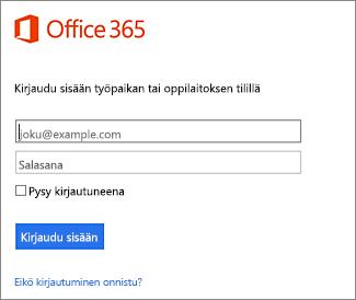 Portal.Office 365 Kirjautuminen