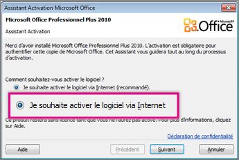 Activer le logiciel via internet - Installer office 2010 sur windows 8 1 ...
