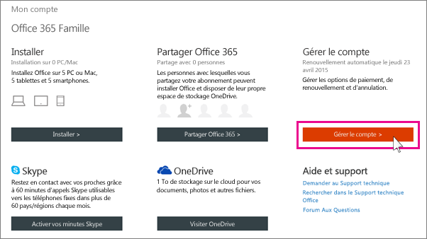 Screenshot of the my account page to get to the manage - Office 365 famille premium cle gratuit ...