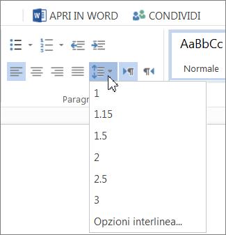 Modificare l'interlinea in Word - Word