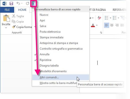 Aggiungere comandi alla barra di accesso rapido supporto for Disegni della barra del garage