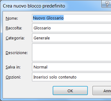 Inserire automaticamente il testo word for Disegno una finestra testo