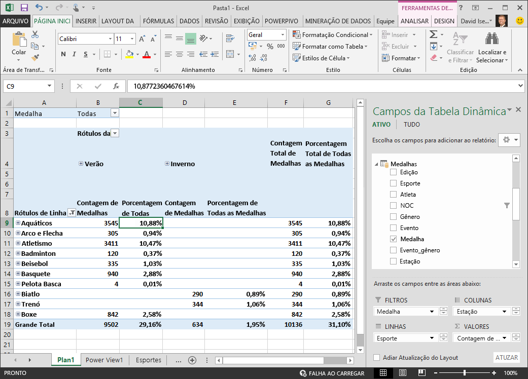 Como o campo Porcentagem de Todas as Medalhas está no Modelo de dados ...